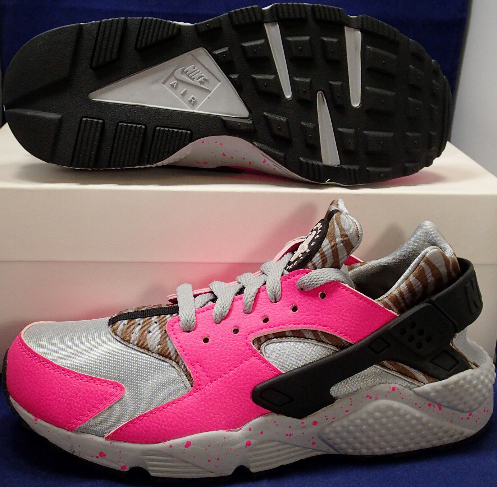 Womens Nike Air Huarache Run iD Grey Pink Black Brown SZ 9 ( 777331-999 )