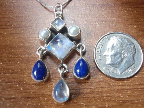 Moonstone lapis et Vraie Perle Argent Sterling 925 7-Gem Pendentif