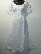 Dress Fits XL 1X 2X  Plus White Corset Lace Up Chest Flutter Lace Hem NWT G100