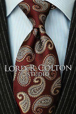 Lord R Colton Studio Tie - Burgundy & Gold Paisley Woven Necktie - $95 New