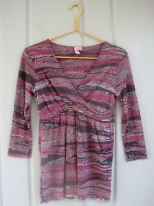 Sweet-Pea-Stacy-Frati-Womens-Medium-8-10-Gray-Pink-Mesh-Wrap-Babydoll-Shirt-Top