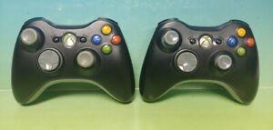 2-OEM-Microsoft-Xbox-360-Wireless-Controller-Black-Working-Tested