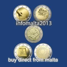 2011 - 2015 Malta 2 Euro Coins Uncirculated Lot of 5 coins