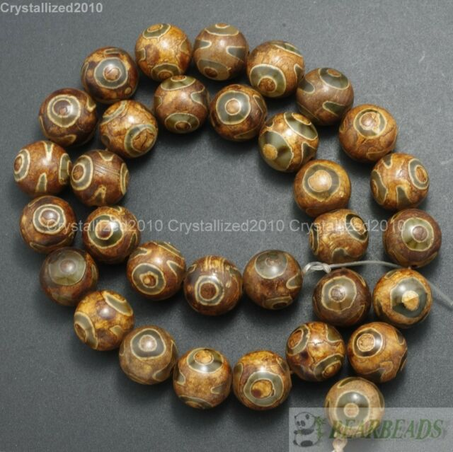 Brown Tibetan Agate Gemstone Mystical Eye Round Beads 8mm 10mm 12mm 14mm 15''