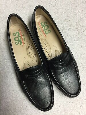 sas women's black leather slip on casual work shoes size