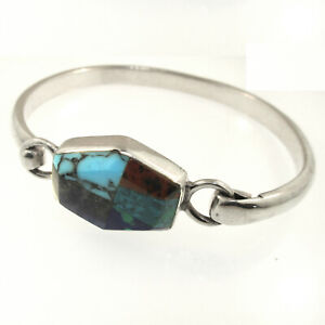 Taxco-Hook-On-Bracelet-Turquoise-Coral-Onyx-Azurite-Sterling-TV-121-Mexico-925