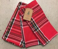 Well Dressed Home Christmas Red Black Tartan Plaid Cloth Napkins Set 4 Holidays