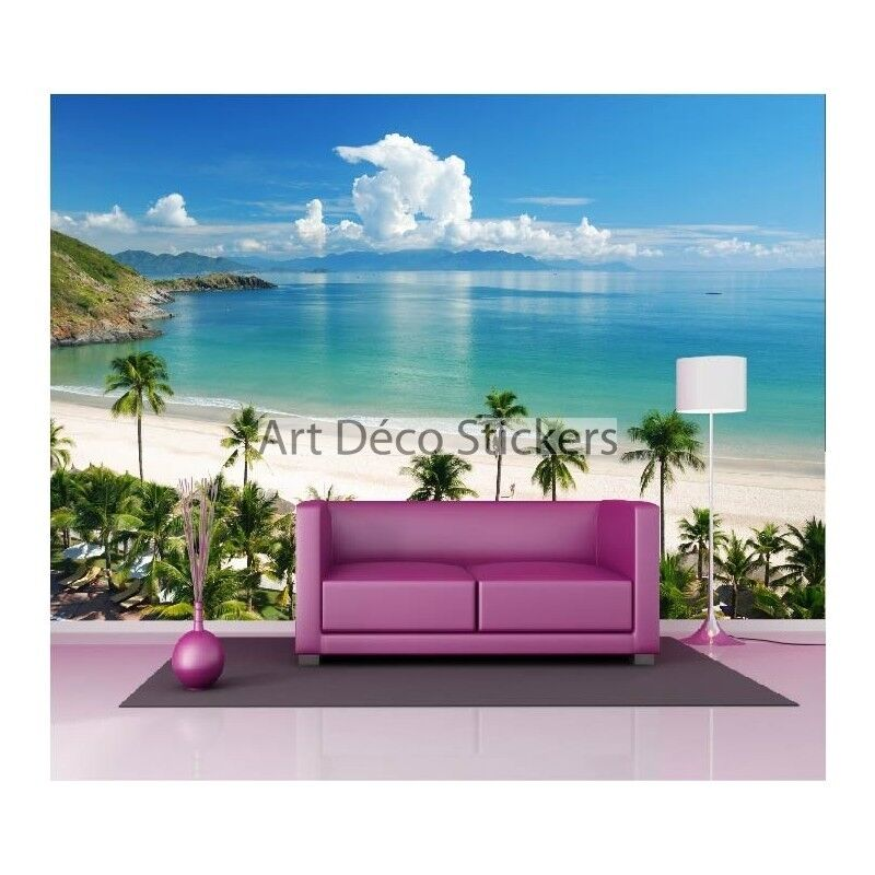 Pegatinas de Pared Gigante Decoración   Playa de Caribe 1555
