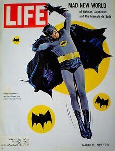 Batman-Adam-West-1966-Magazine-Life-Superhero-Includes-Roman-Empire-Gatefold-VTG