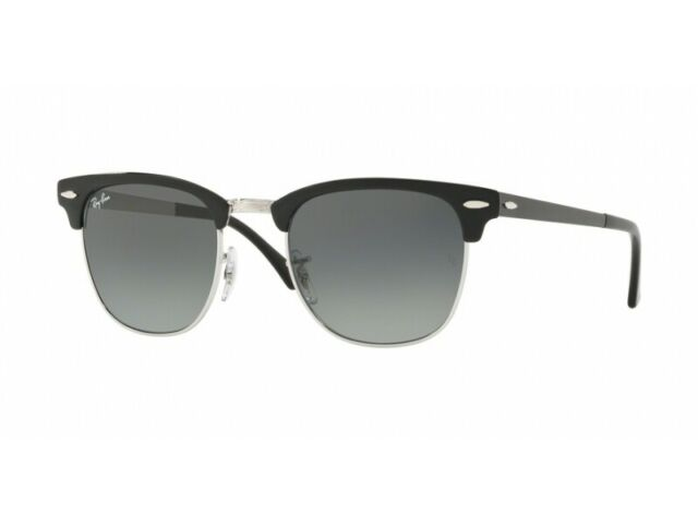 2c39d6c5755 Ray-Ban RB 3716 Clubmaster 900471b Black Silver Sunglasses Grey Gradient  Lens