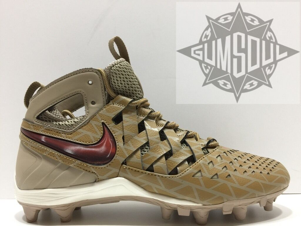 free shipping 1620a 3976b NIKE HUARACHE V LAX ELITE ELITE ELITE LACROSSE CLEATS KHAKI RED goldEN  807120 200 sz 12