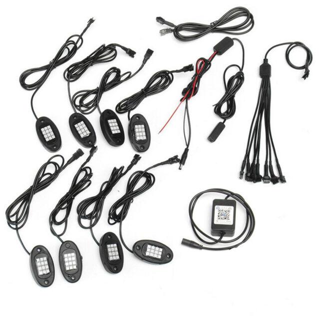 8 Pcs Rgb Led Car Suv Chassis Decoration Lights Rock Lamps Bluetooth
