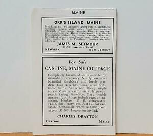 Maine Orr's Island Castine 1937 PRINT ADS Sale James Seymour Charles Drayton