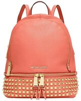 Michael Kors Rhea Small Backpack Studded Grapefruit Leather Gold Studs Tote