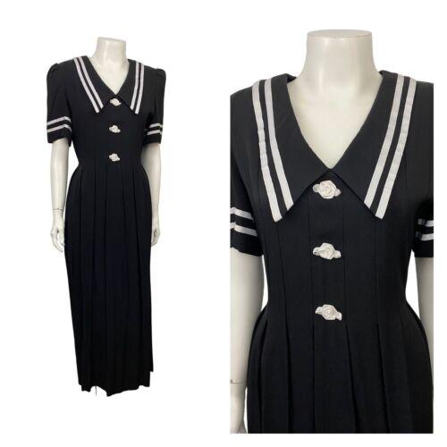1990s Long Sailor Dress / Black White Stripe Maxi… - image 1