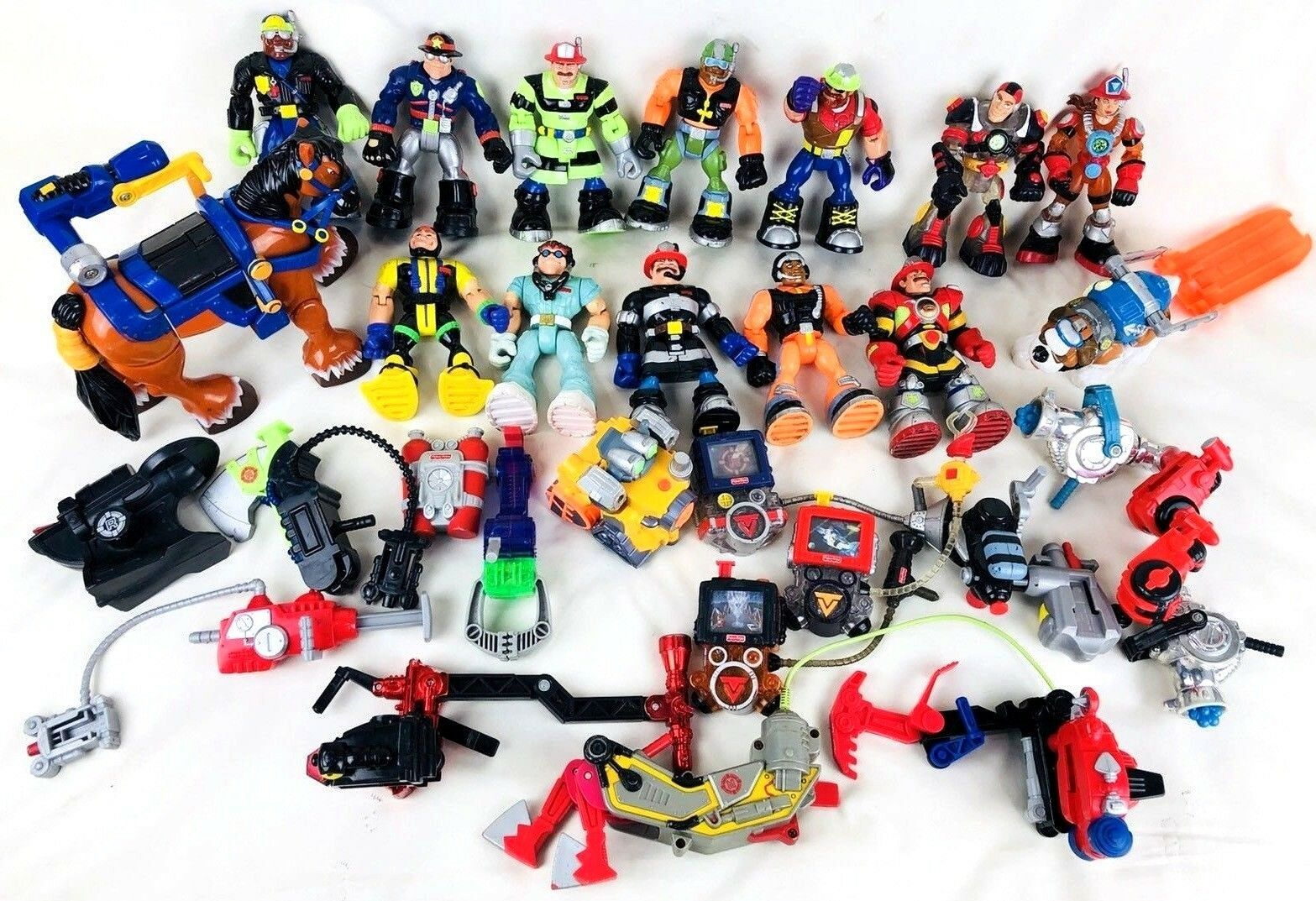 30 Lot Fisher Price Rescue Heroes 12 Figures 14 Accessories Accessories Accessories Tools 3 Pets 1 Robot 094246