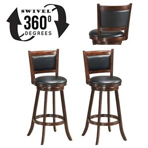 Brilliant Details About Wood Bar Stools Set Of 2 Swivel Solid Hardwood Beautiful Dining Chairs 29 Black Gamerscity Chair Design For Home Gamerscityorg
