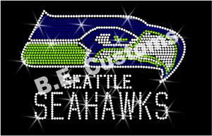 "Bling Iron On Rhinestone Transfer /""Green Seattle Seahawks/"" NFL Hotfix"