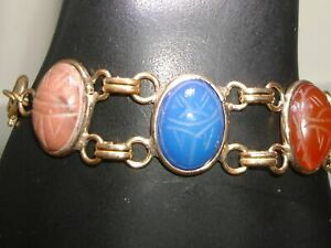 LOVELY-VINTAGE-1960-039-SERA-GOLD-FILLED-GENUINE-SCARAB-DOUBLE-LINK-BRACELET