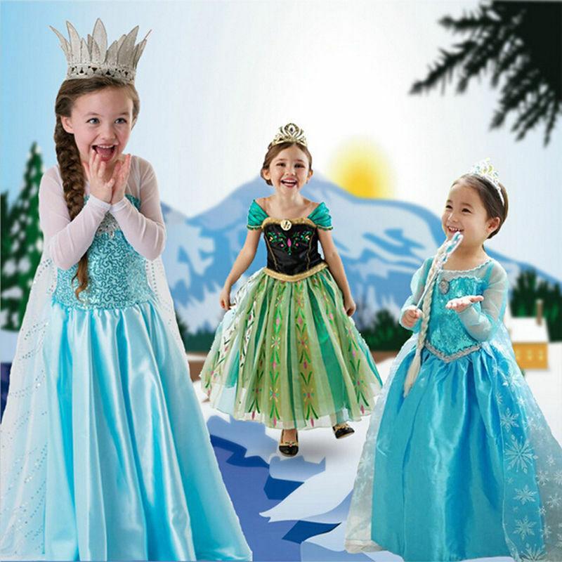 Kids Girls Princess Queen Elsa Anna Halloween Cosplay Costume Fancy Dress&Crown
