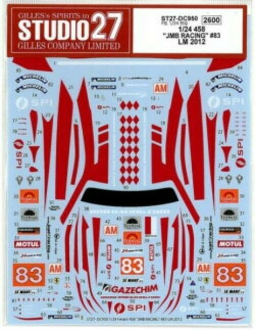 STUDIO27 1 24 Ferrari 458  JMB RACING  LM 2012 for Fujimi DC950 Decal