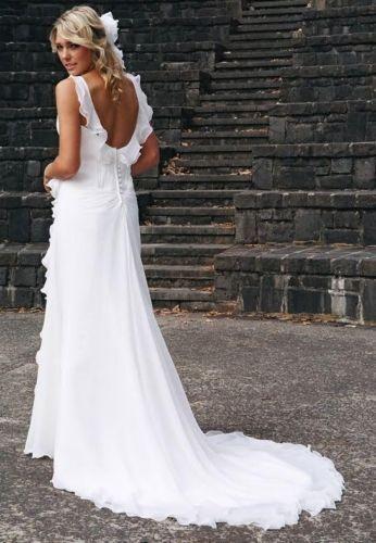 Ruffles Chiffon Sleeveless White//Ivory Beach Wedding Dresses Bridal Gowns Custom