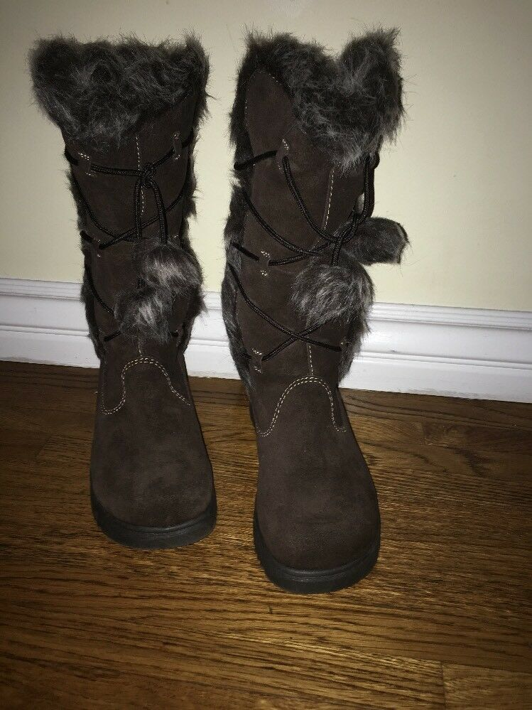 REPORT Olympic Size 9 M Brown Suede Leather Fully-Lined Faux Fur Winter Boots