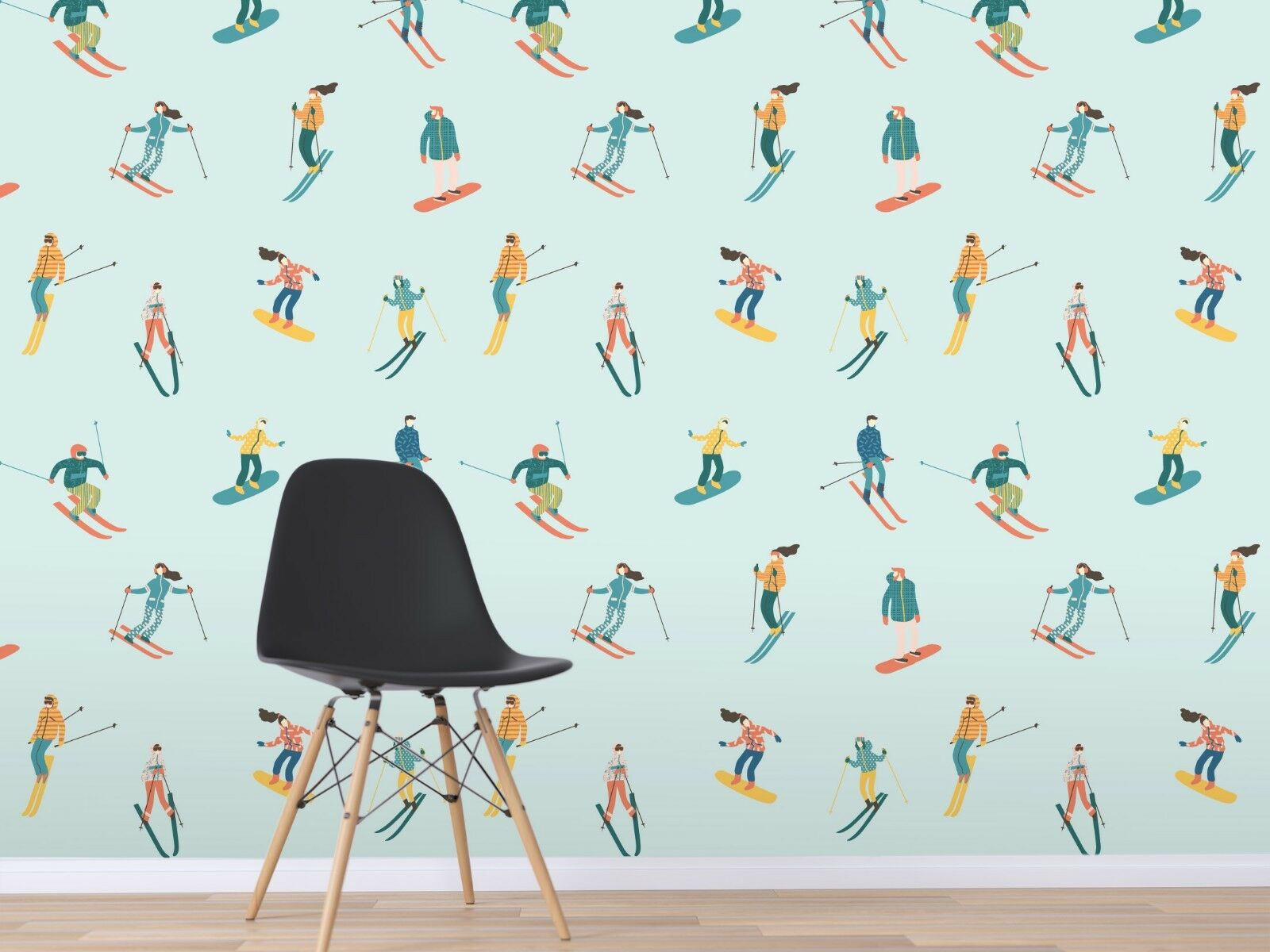 3D bluee Ski Man 939 Wallpaper Mural Paper Wall Print Indoor Murals CA Summer