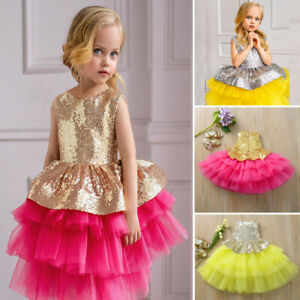 Kid-Girl-Sequins-Princess-Bridesmaid-Pageant-Gown-Birthday-Party-Wedding-Dress