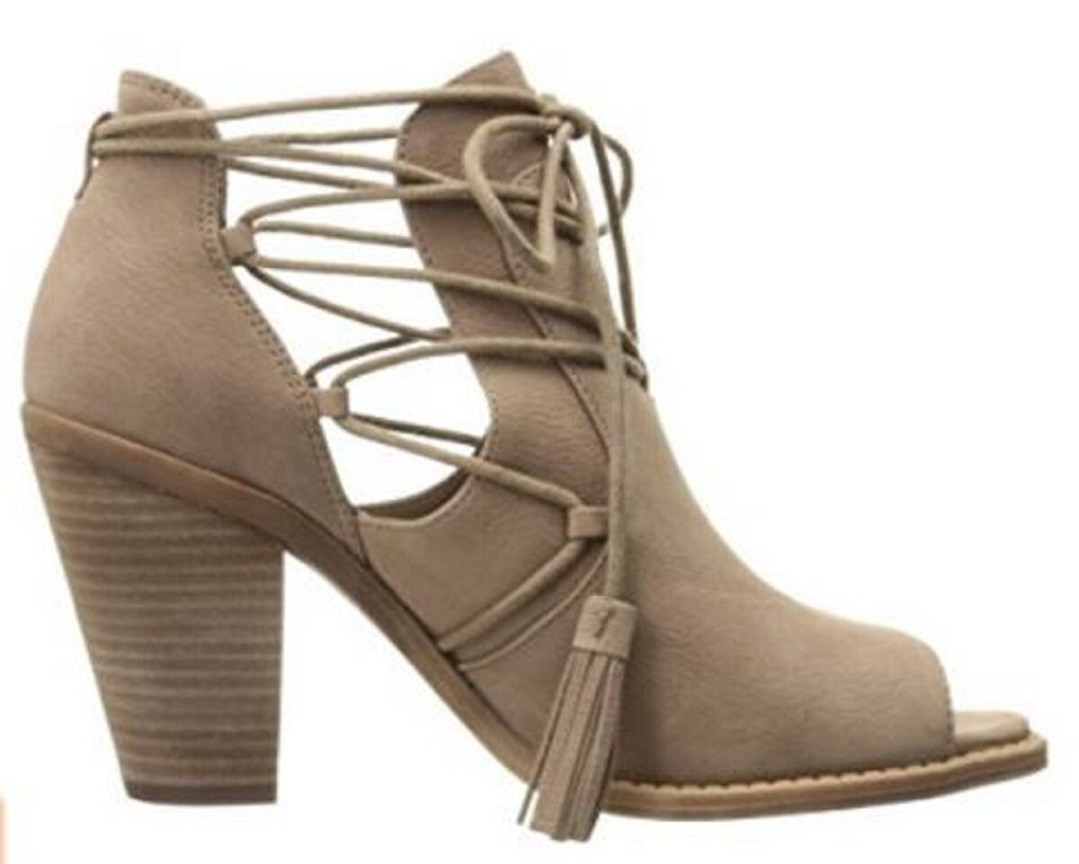 Women's Jessica Simpson CERI Peeptoe Bootie Sandal Heels Tassel Suede Warm Taupe