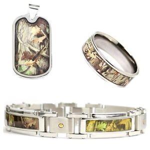 3 pc Hunting Camo Jewelry Set Bracelet Ring Dog Tag Stainless Steel Titanium