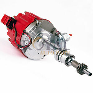 Red-Cap-Distributor-SBF-For-Ford-Sm-Block-260-289-302-HEI-Ignition-w-65K-Coil