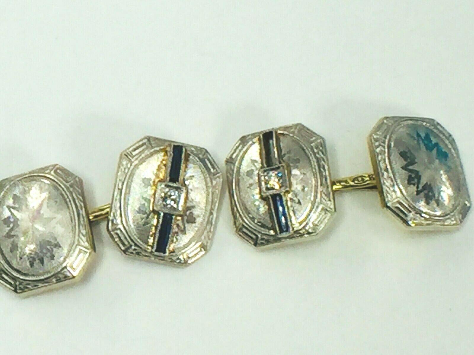 Art Deco Platinum & 14kt Gold Etched Diamond & Sapphire Cufflinks.9.5gm..