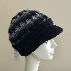 54ab07970a8 NWT! Parkhurst Knit Hat WINTER Cap BLACK   Gray Acrylic and Cotton ...
