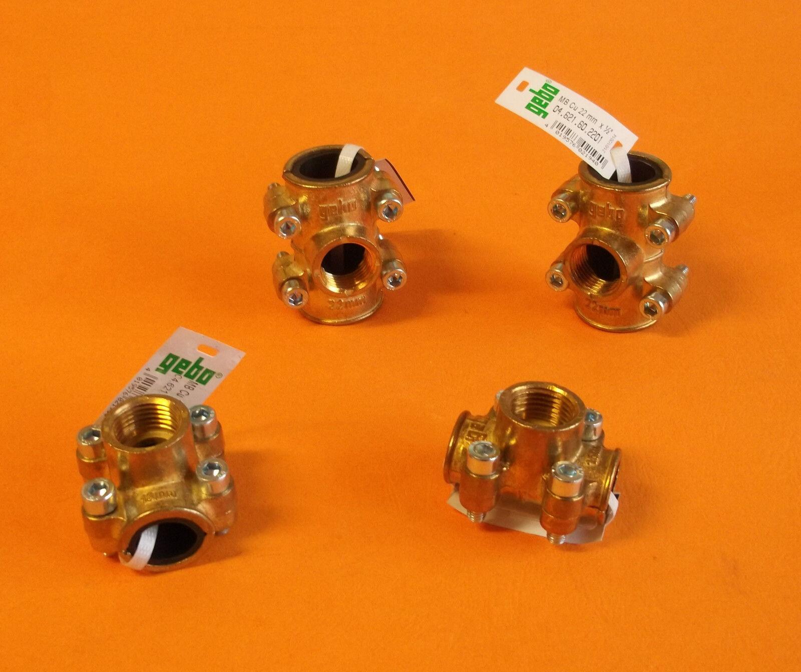 Gebo Rohrbruch Dichtschelle Typ ANB Anbohrschelle Messing Kupfer wählbare Größe