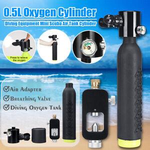 0-5L-Scuba-Tauchausruestung-Sauerstoffflasche-Unterwasseratemgeraet-mit-Adapter