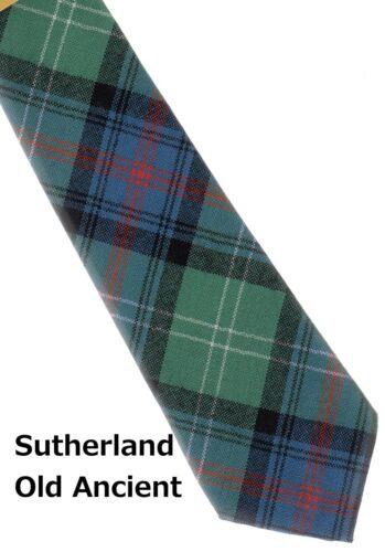 Tartan Tie Clan Sutherland Old Scottish Wool Plaid