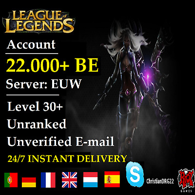 League of Legends Account LOL | EUW | Level 30+ | 22.000+ BE | Unranked