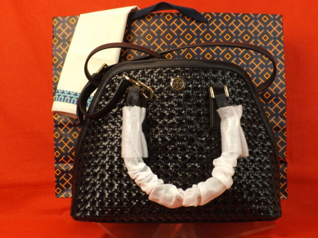 58ab462d27 NWT TORY BURCH BLACK WOVEN LEATHER ROBINSON REVA DOME OPEN BASKET BAG $575