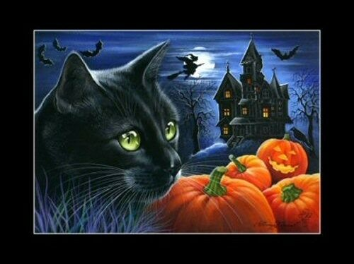 Halloween Cat ACEO Print Halloween Night by I Garmashova
