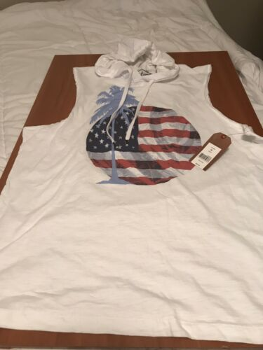 NEW $36.00 Size Large NEW MEN RED CAMEL SLEEVELESS PALM FLAG HOODIE TANK