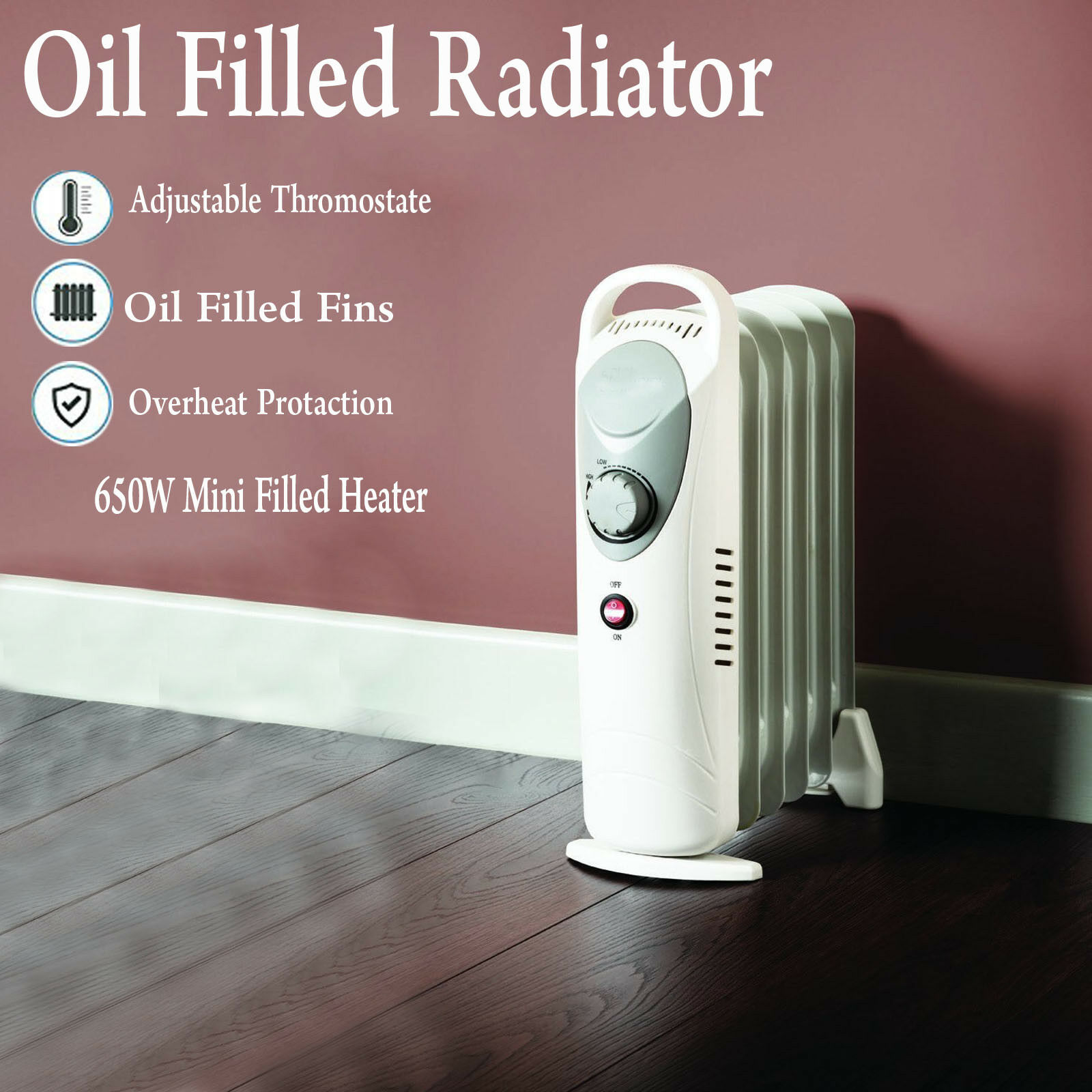 Mini 650w Oil Filled Radiator Portable Electric Thermostat