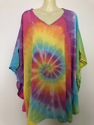 blue multicoloured Poncho//Kaftan Style Top One Size Pretty Red