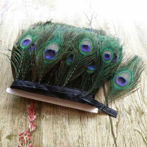 Novedad Venta 1-10 yardas bonita decoración 12-15cm Cinta Natural Pluma de Pavo Real