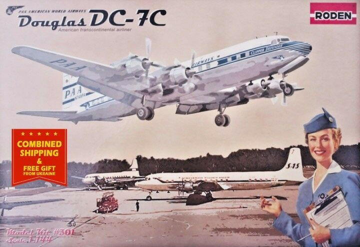 Aircraft DC-7C, PAN AMERICAN WORLD AIRWAYS (PAA) 1 144 scale model kit RODEN 301
