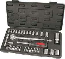 "43pc Socket Set 3/8"" & 1/4"" Metric Drive Screwdriver Bits Spark Plug Spinner"