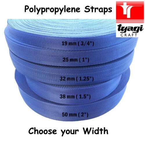 Egyptian BLUE PP Polypropylene Tape All Width Strap Bag Handles Webbing Bunting