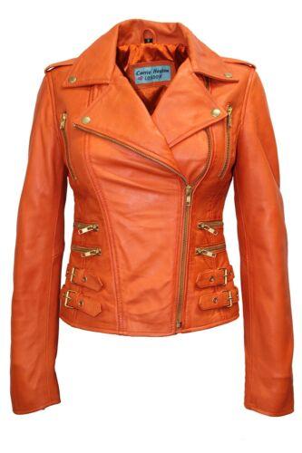 Susan Ladies Orange Biker Style Motorcycle Designer Fashion Nappa Leather Jacket