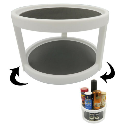 Evelots Lazy Susan-2 Tier-Non Skid-Spinning Turntable-Pantry//Cabinet//Counter