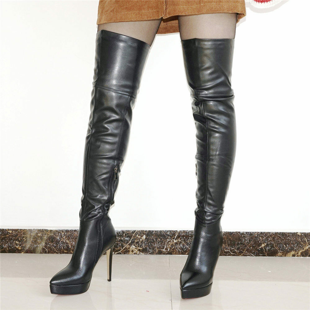 Women Boots Point Toe Platform Stiletto Thigh High Boots Over Knee Party Pumps